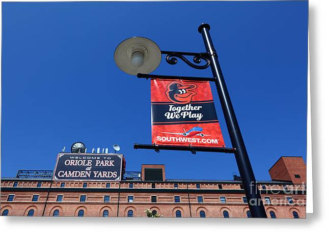 Baltimore Baseball Parks Greeting Cards - Together We Play Greeting Card by James Brunker