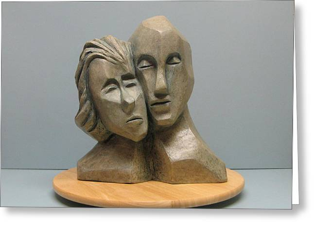 Person Sculptures Greeting Cards - Togetherness. Greeting Card by Nili Tochner