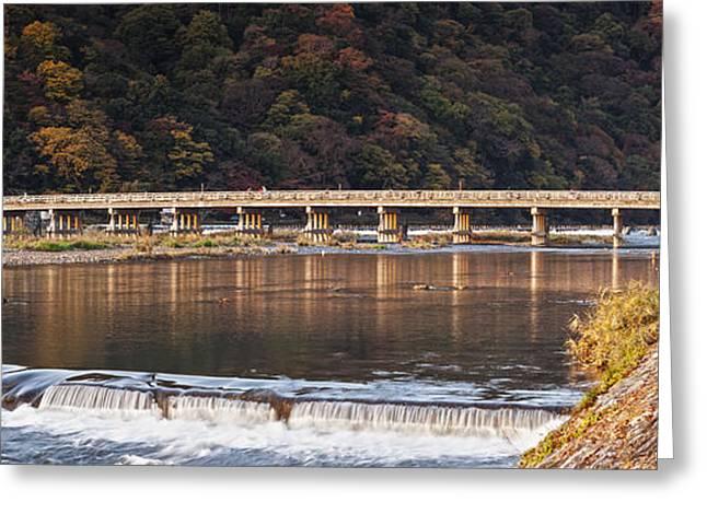 Weired Greeting Cards - Togetsukyo Bridge and Katsura River Panorama Arashiyama Kyoto Ja Greeting Card by Colin and Linda McKie