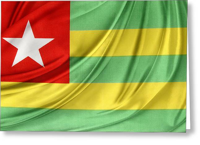 Shiny Fabric Greeting Cards - Togo flag Greeting Card by Les Cunliffe