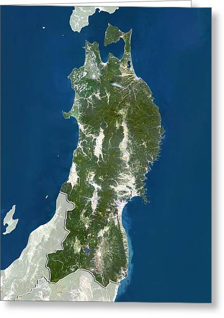 Boundary Waters Greeting Cards - Tohoku, Japan, satellite image Greeting Card by Science Photo Library