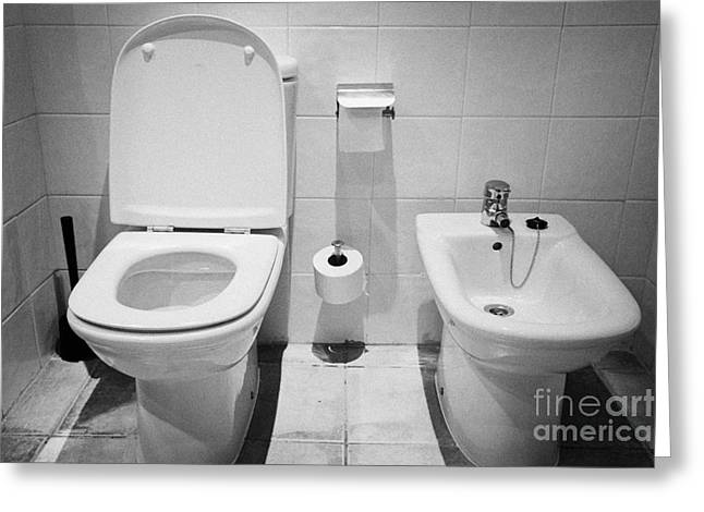 Fitting Room Greeting Cards - Toilet And Bidet In A Hotel Room Salou Catalonia Spain Greeting Card by Joe Fox