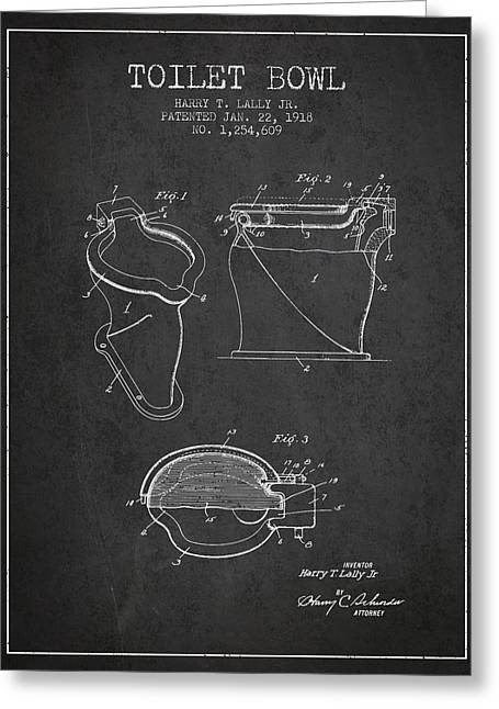 Toilet Paper Greeting Cards - Toilet Bowl Patent from 1918 - Charcoal Greeting Card by Aged Pixel