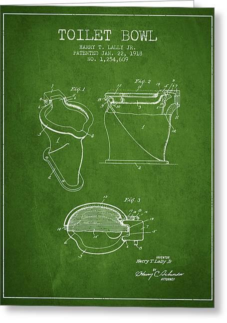 Toilet Paper Greeting Cards - Toilet Bowl Patent from 1918 - Green Greeting Card by Aged Pixel