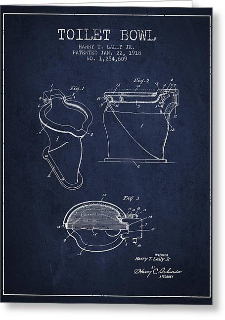 Toilet Paper Greeting Cards - Toilet Bowl Patent from 1918 - Navy Blue Greeting Card by Aged Pixel