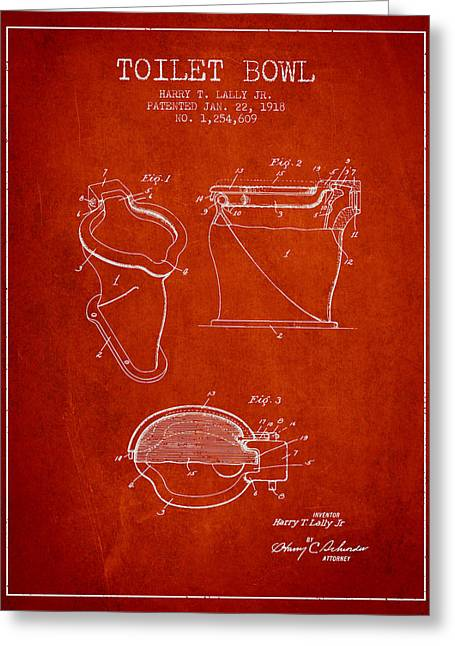 Toilet Paper Greeting Cards - Toilet Bowl Patent from 1918 - Red Greeting Card by Aged Pixel
