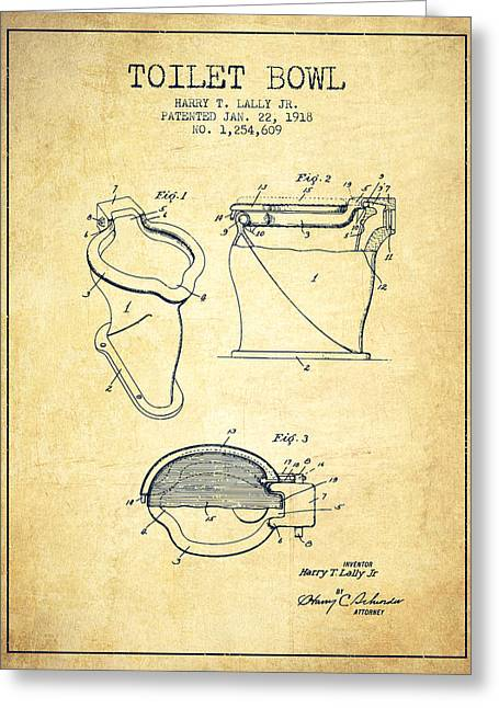 Toilet Paper Greeting Cards - Toilet Bowl Patent from 1918 - Vintage Greeting Card by Aged Pixel