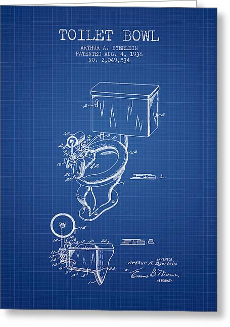 Toilet Paper Greeting Cards - Toilet Bowl Patent from 1936 - Blueprint Greeting Card by Aged Pixel