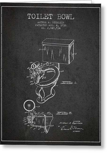 Seated Digital Art Greeting Cards - Toilet Bowl Patent from 1936 - Charcoal Greeting Card by Aged Pixel