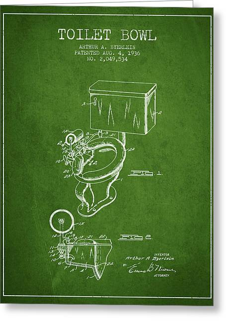 Toilet Paper Greeting Cards - Toilet Bowl Patent from 1936 - Green Greeting Card by Aged Pixel