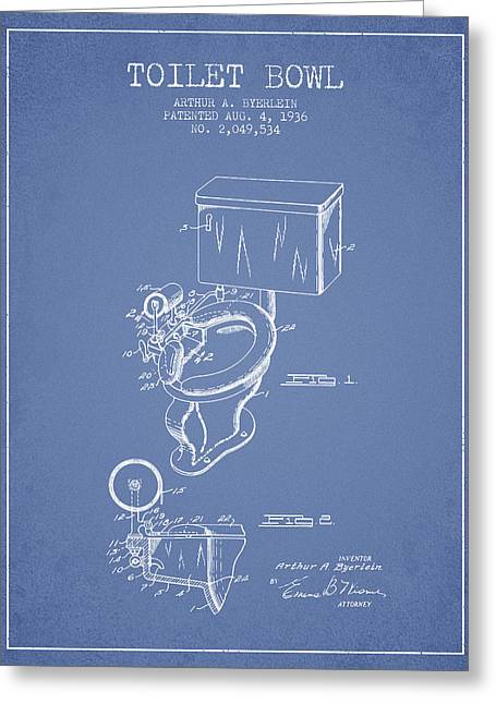 Toilet Paper Greeting Cards - Toilet Bowl Patent from 1936 - Light Blue Greeting Card by Aged Pixel