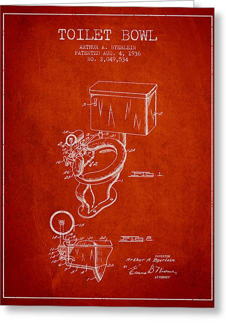 Toilet Paper Greeting Cards - Toilet Bowl Patent from 1936 - Red Greeting Card by Aged Pixel