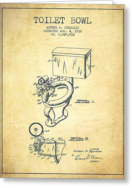 Seated Digital Art Greeting Cards - Toilet Bowl Patent from 1936 - Vintage Greeting Card by Aged Pixel