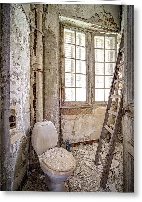 Deserted Castle Greeting Cards - Toilet escape abandoned places Greeting Card by Dirk Ercken