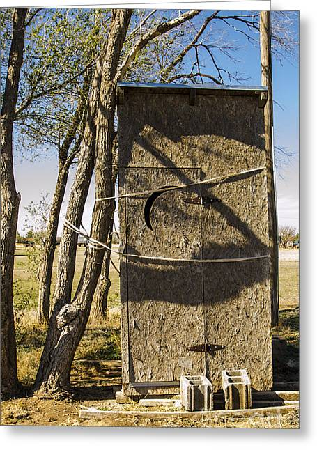 Old Roadway Greeting Cards - Toilet Out Of Order Outhouse Adrian Texas Greeting Card by Deborah Smolinske