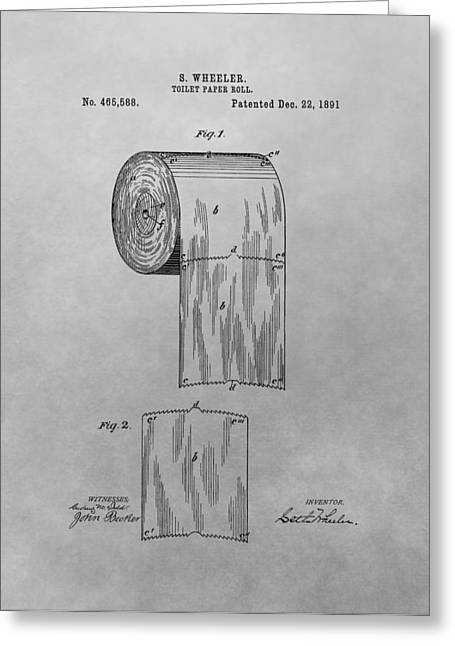Soft Drawings Greeting Cards - Toilet Paper Patent Drawing Greeting Card by Dan Sproul
