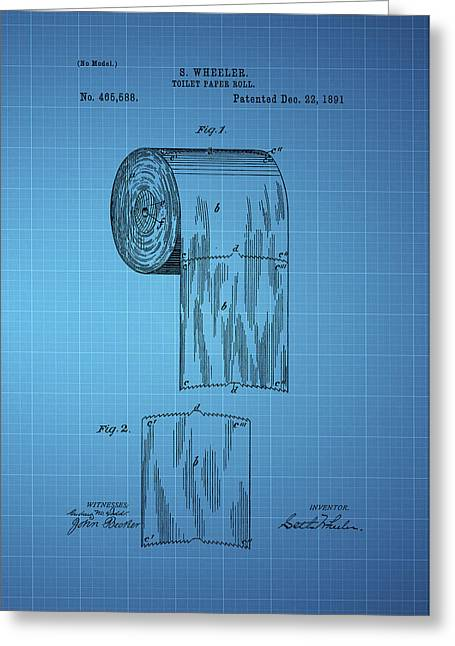 Vintage Potty Greeting Cards - Toilet Paper Roll Patent 1891 - Blue Greeting Card by Chris Smith