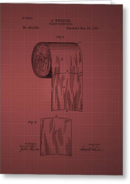 Vintage Potty Greeting Cards - Toilet Paper Roll Patent 1891- burgundy Greeting Card by Chris Smith