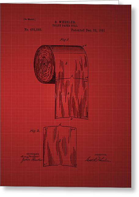 Vintage Potty Greeting Cards - Toilet Paper Roll Patent 1891 - Red Greeting Card by Chris Smith
