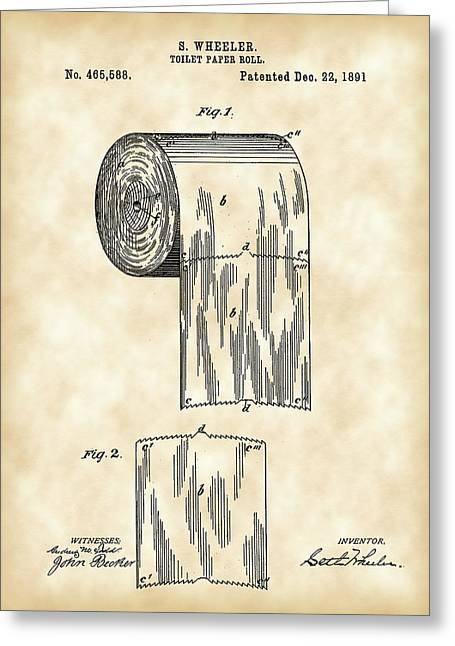Toilet Paper Greeting Cards - Toilet Paper Roll Patent 1891 - Vintage Greeting Card by Stephen Younts