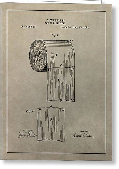 Toilet Roll Holder Greeting Cards - Toilet Paper Roll Patent Greeting Card by Dan Sproul