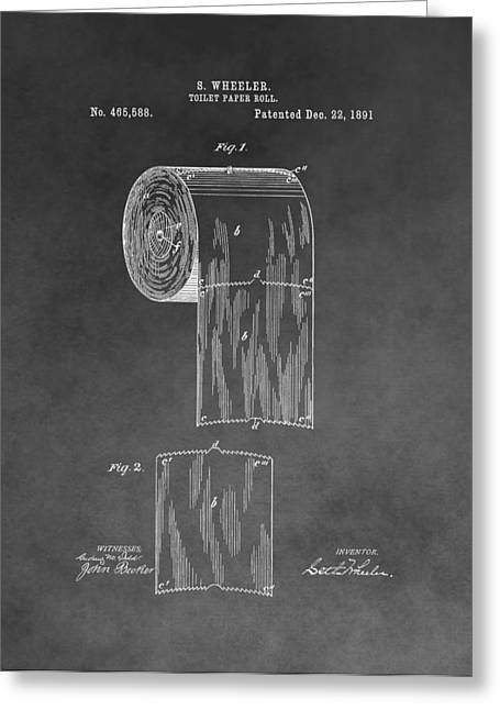 Consumer Greeting Cards - Toilet Paper Roll Patent Drawing Greeting Card by Dan Sproul