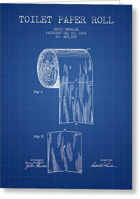 Toilet Paper Greeting Cards - Toilet Paper Roll Patent Drawing From 1891 - Blueprint Greeting Card by Aged Pixel