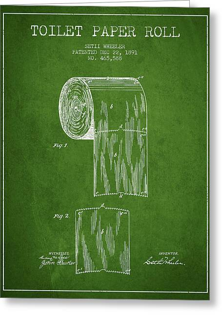 Toilet Paper Greeting Cards - Toilet Paper Roll Patent Drawing From 1891 - Green Greeting Card by Aged Pixel