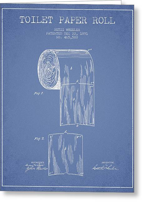 Toilet Paper Greeting Cards - Toilet Paper Roll Patent Drawing From 1891 - Light Blue Greeting Card by Aged Pixel