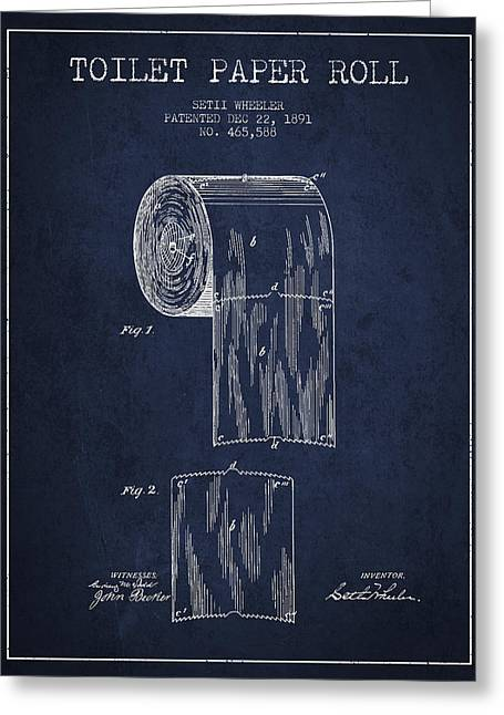 Toilet Paper Greeting Cards - Toilet Paper Roll Patent Drawing From 1891 - Navy Blue Greeting Card by Aged Pixel