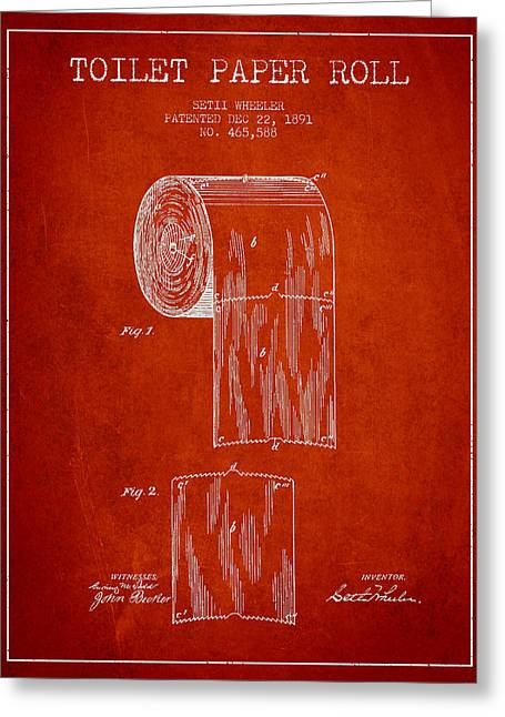 Toilet Paper Greeting Cards - Toilet Paper Roll Patent Drawing From 1891 - Red Greeting Card by Aged Pixel
