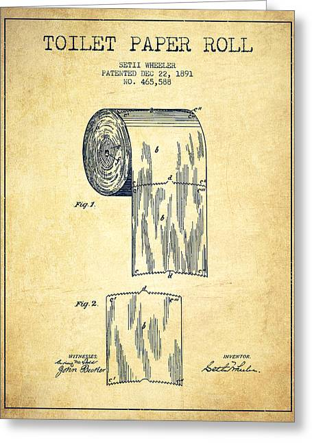 Toilet Paper Greeting Cards - Toilet Paper Roll Patent Drawing From 1891 - Vintage Greeting Card by Aged Pixel