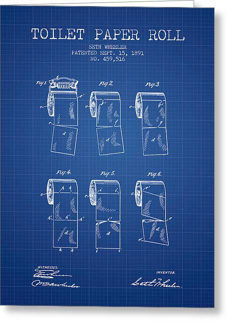 Toilet Paper Greeting Cards - Toilet Paper Roll Patent from 1891 - Blueprint Greeting Card by Aged Pixel