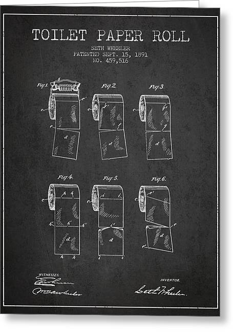 Toilet Paper Greeting Cards - Toilet Paper Roll Patent from 1891 - Charcoal Greeting Card by Aged Pixel