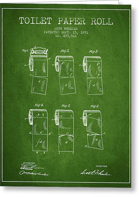 Toilet Paper Greeting Cards - Toilet Paper Roll Patent from 1891 - Green Greeting Card by Aged Pixel