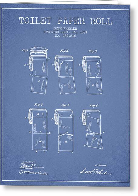 Toilet Paper Greeting Cards - Toilet Paper Roll Patent from 1891 - Light Blue Greeting Card by Aged Pixel