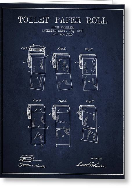 Toilet Paper Greeting Cards - Toilet Paper Roll Patent from 1891 - Navy Blue Greeting Card by Aged Pixel