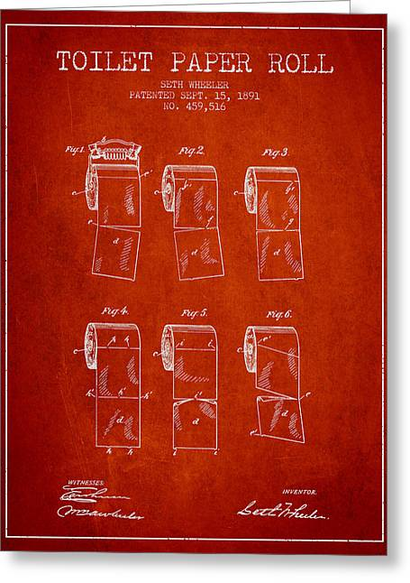 Toilet Paper Greeting Cards - Toilet Paper Roll Patent from 1891 - Red Greeting Card by Aged Pixel