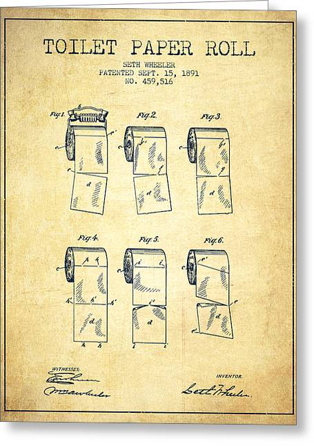 Toilet Paper Greeting Cards - Toilet Paper Roll Patent from 1891 - Vintage Greeting Card by Aged Pixel