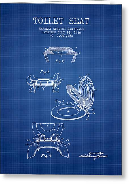Toilet Paper Greeting Cards - Toilet Seat Patent from 1936 - Blueprint Greeting Card by Aged Pixel