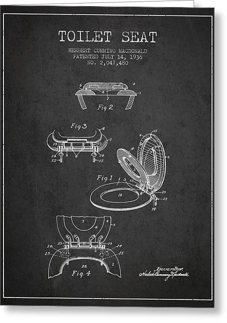 Toilet Paper Greeting Cards - Toilet Seat Patent from 1936 - Charcoal Greeting Card by Aged Pixel