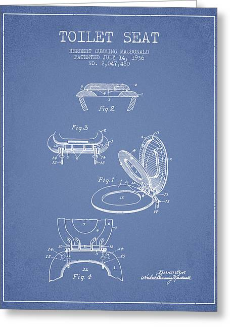 Seated Digital Art Greeting Cards - Toilet Seat Patent from 1936 - Light Blue Greeting Card by Aged Pixel