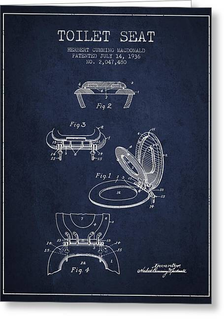 Toilet Paper Greeting Cards - Toilet Seat Patent from 1936 - Navy Blue Greeting Card by Aged Pixel