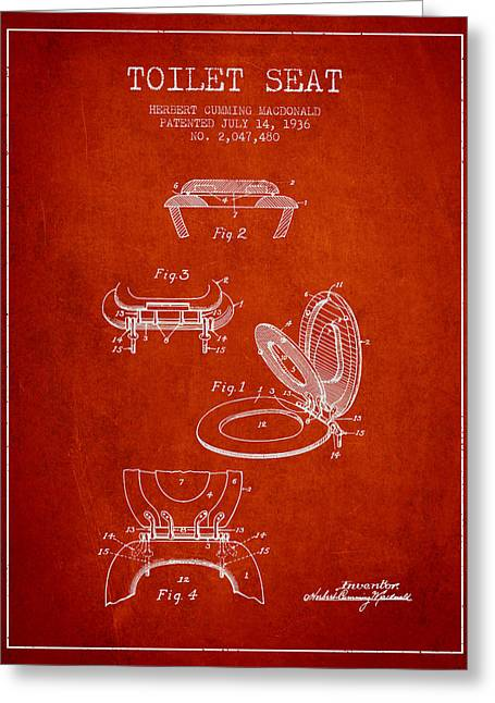 Toilet Paper Greeting Cards - Toilet Seat Patent from 1936 - Red Greeting Card by Aged Pixel