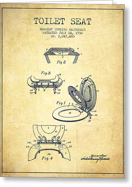 Toilet Paper Greeting Cards - Toilet Seat Patent from 1936 - Vintage Greeting Card by Aged Pixel