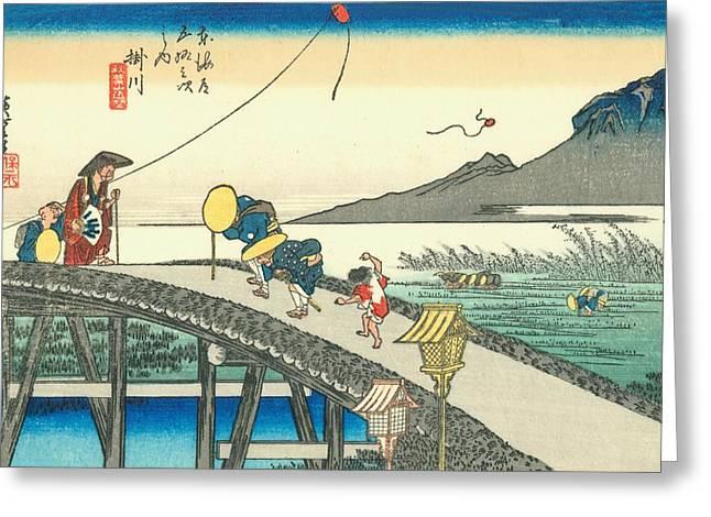 Kyoto Paintings Greeting Cards - Tokaido - Kakegawa Greeting Card by Hiroshige
