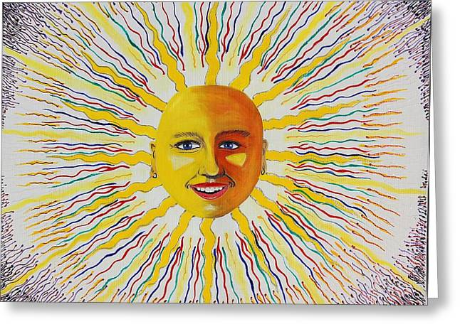 Prisma Colored Pencil Paintings Greeting Cards - Toki Sun Greeting Card by Ru Tover
