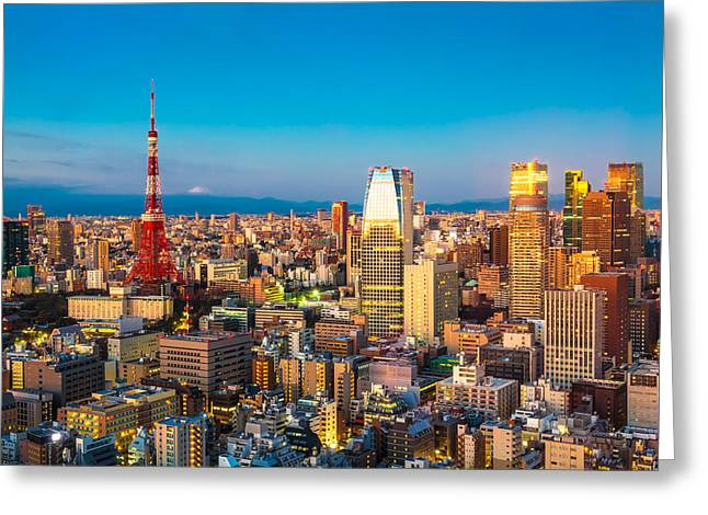 """japan City"" Greeting Cards - Tokyo 15  Greeting Card by Tom Uhlenberg"