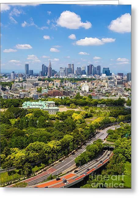 """japan City"" Greeting Cards - Tokyo 22 Greeting Card by Tom Uhlenberg"