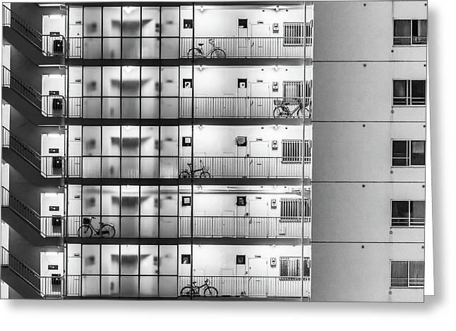 Tokyo - Five Bikes Greeting Card by Michael Jurek